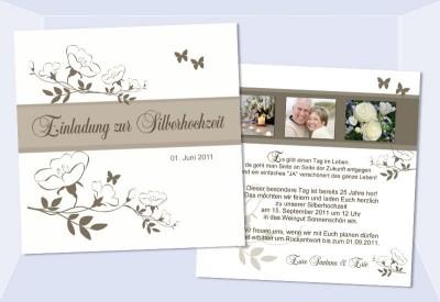 Karten Goldene Hochzeit Silberhochzeit, Einladungskarten, Einladung