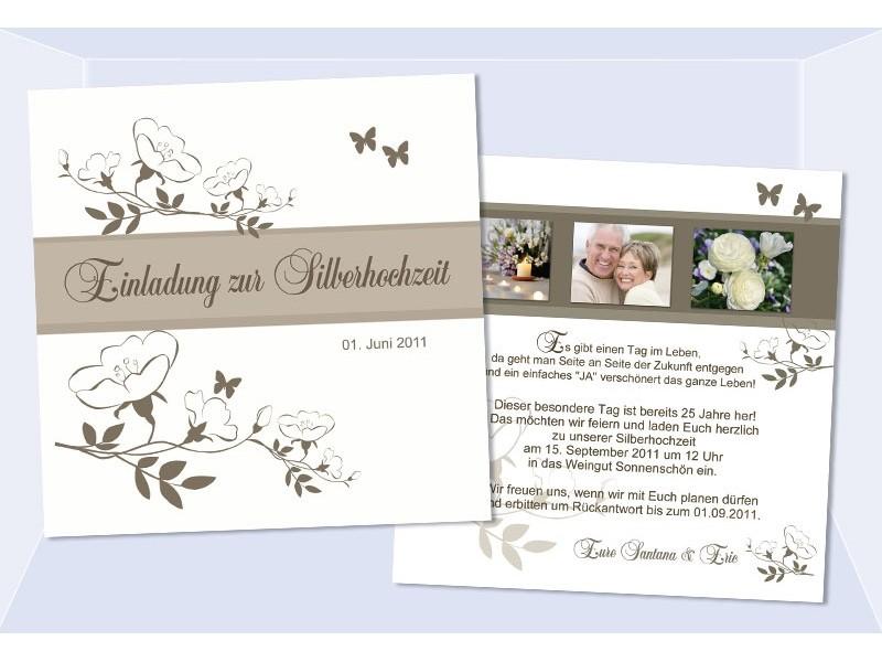 Karte Goldene Hochzeit Silberhochzeit, Einladungskarte Quadrat