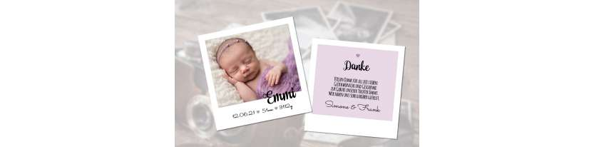 Dankeskarte Geburt Polaroid