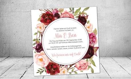 Hochzeitseinladung Blumenkranz bordeaux rot Rosen