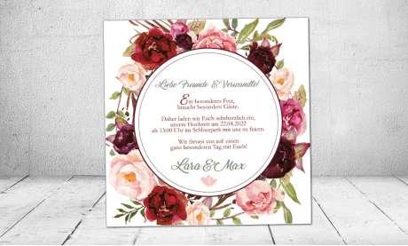 Hochzeitseinladung Blumenkranz bordeaux rot Rosen quadratisch