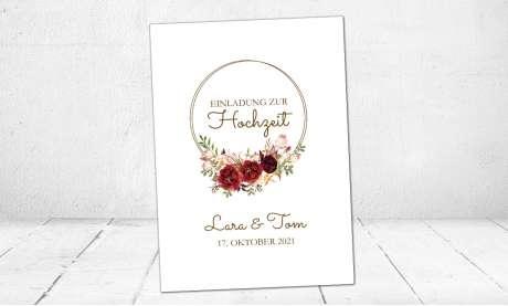 Hochzeitseinladung Blumen Rosen bordeaux rot dezent Postkarte