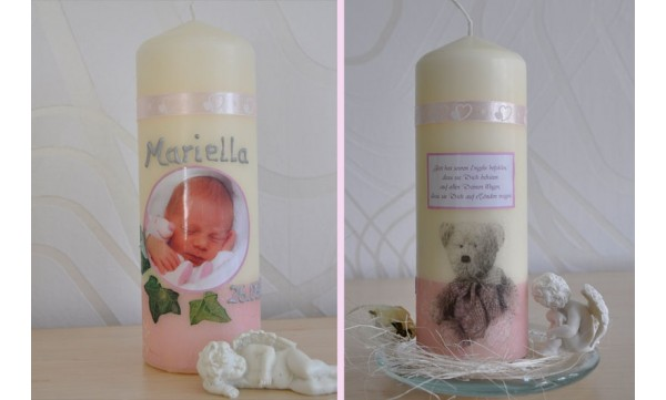 Taufkerze Baby mit Foto + Taufspruch, Wachskreation, rosa