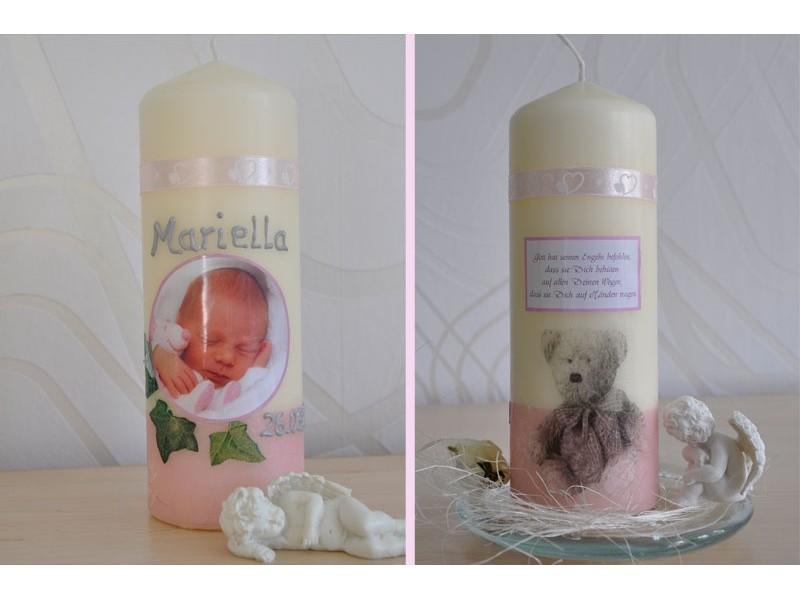 taufkerze f r ihr baby mit foto und taufspruch wachskreation rosa. Black Bedroom Furniture Sets. Home Design Ideas