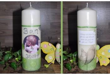 Taufkerze Baby mit Foto + Taufspruch, Wachskreation, grün