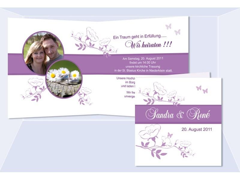 Karte Hochzeit Einladungskarte, Klappkarte Quadrat, Lila
