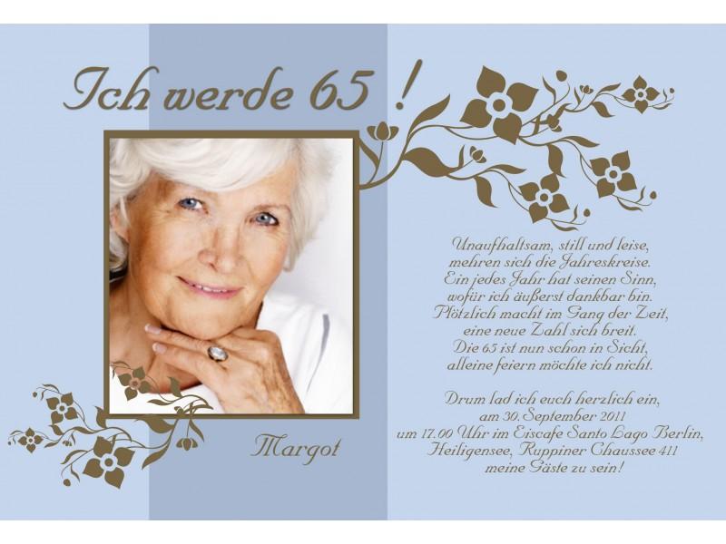 Einladung 65. Geburtstag, Fotokarte 10x15 Cm, Grün