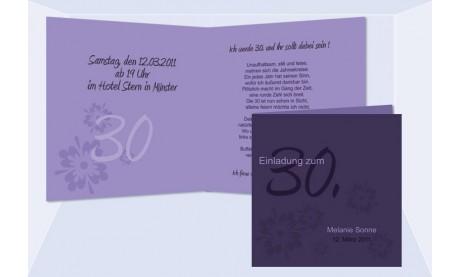 Einladung 30. Geburtstag, Klappkarte 12,5x12,5 cm, lila