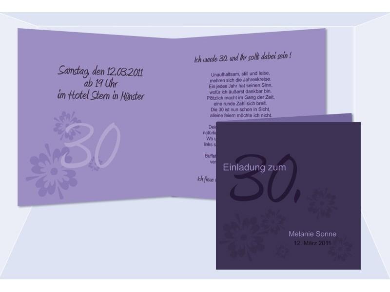Einladung 30. Geburtstag, Klappkarte 12,5x12,5 Cm, Lila ...