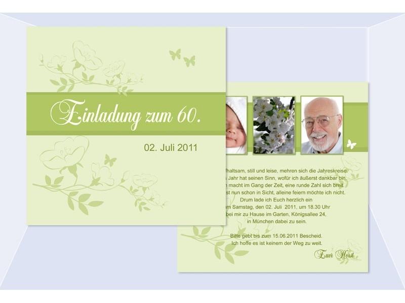 einladung 60. geburtstag, flachkarte 12,5x12,5 cm, rosa pink, Einladung