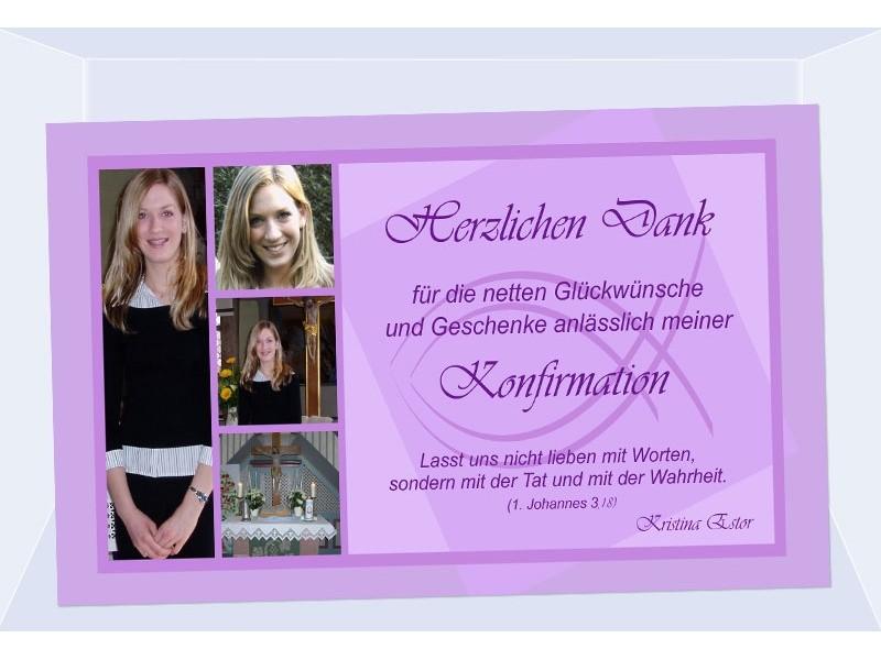 Danksagung Kommunion / Konfirmation, Danksagungskarte ...
