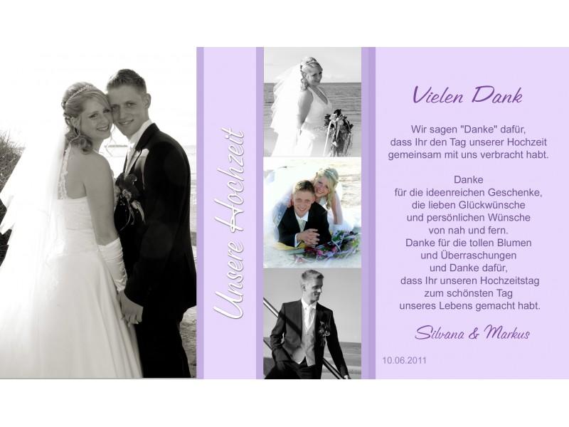 Danksagung Hochzeit, Danksagungskarte, Fotokarte, flieder