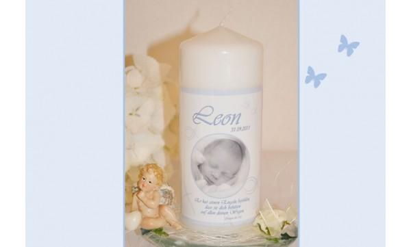 Taufspruch Karte Mädchen.Taufkerze Baby Mit Foto Taufspruch Fotogestaltung Hellblau