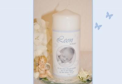 Taufkerze für Ihr Baby mit Foto und Taufspruch, Kerze zur Taufe ...