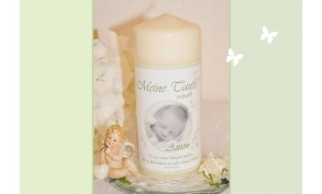 Taufkerze Baby mit Foto + Taufspruch, Fotogestaltung, hellgrün