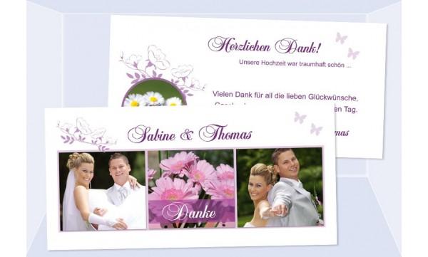 Karte Hochzeit Danksagungskarte DIN Lang quer