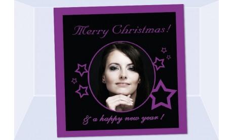 Fotokarte Weihnachten, Weihnachtskarte 12,5x12,5 cm, schwarz lila