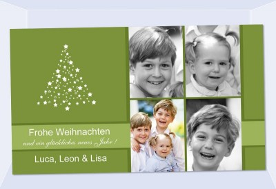 fotokarte weihnachten weihnachtskarte 10x18 cm gr n. Black Bedroom Furniture Sets. Home Design Ideas