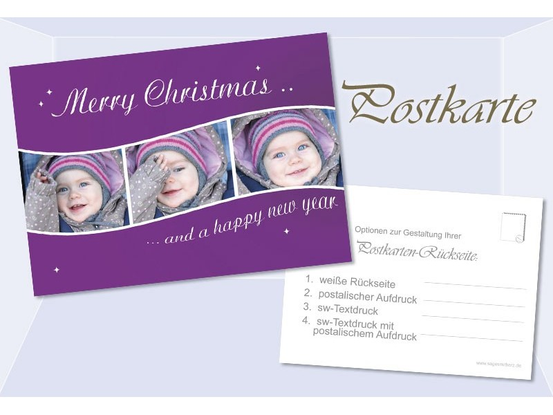 postkarte weihnachten weihnachtskarte 10x15 cm lila. Black Bedroom Furniture Sets. Home Design Ideas