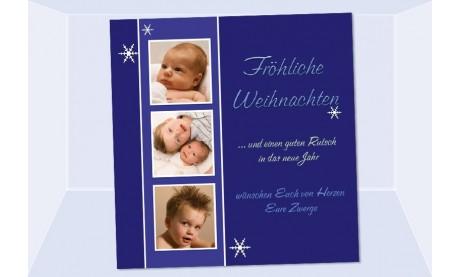 Fotokarte Weihnachten, Weihnachtskarte, 10x10 cm, blau