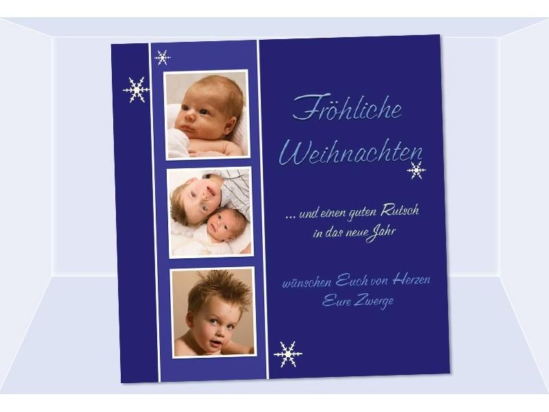 fotokarte weihnachten weihnachtskarte 10x10 cm blau. Black Bedroom Furniture Sets. Home Design Ideas