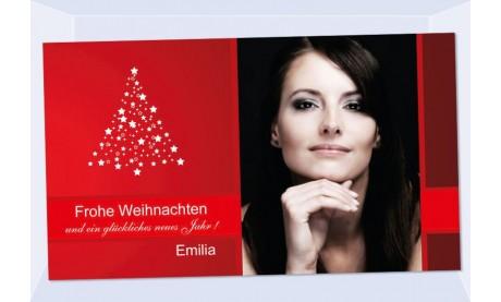 Fotokarte Weihnachten, Weihnachtskart, 10x18, rot