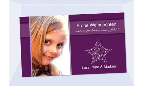 Fotokarte Weihnachten, Weihnachtskart, 10x18, lila