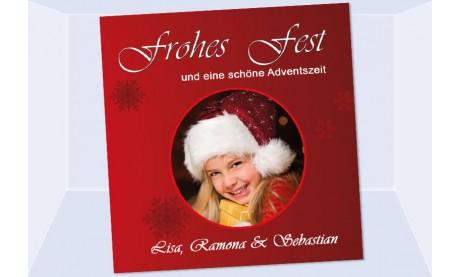 Fotokarte Weihnachten, Weihnachtskarte 12,5x12,5 cm, rot