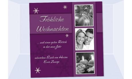 Fotokarte Weihnachten, Weihnachtskarte, 10x10 cm, lila