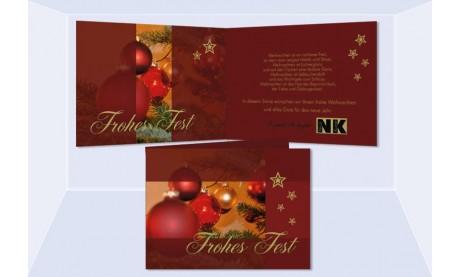 """Weihnachtskarte, Karte Weihnachten geschäftlich """"Kugelglanz"""" rot"""