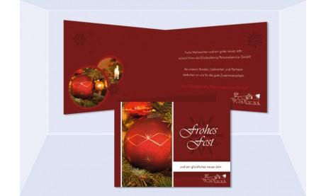 """Weihnachtskarte, Karte Weihnachten geschäftlich """"Kugelwunder"""" rot"""