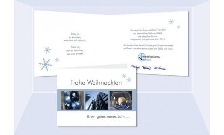 """Weihnachtskarte, Karte Weihnachten geschäftlich """"Eisstern"""" eisblau"""