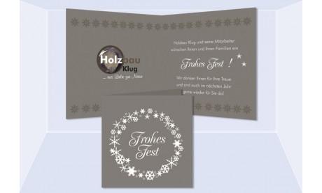 """Weihnachtskarte, Karte Weihnachten geschäftlich """"Adventskranz"""" braun-grau"""