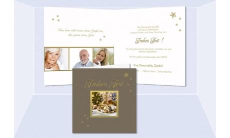 """Weihnachtskarte, Karte Weihnachten geschäftlich """"Lebkuchenduft"""" braun gold"""