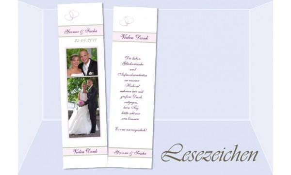 """Lesezeichen Hochzeit, Danksagungskarte """"Herzen"""""""