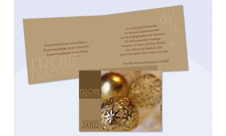 """Weihnachtskarte mit Firmenlogo """"Goldglanz"""""""