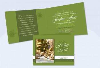 """Weihnachtskarte mit Eindruck und Firmenlogo """"Tannengrün"""""""