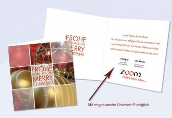 """Weihnachtskarte mit eingedrucktem Text """"Flexibilität"""""""