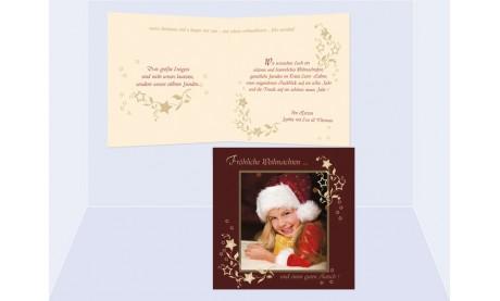 Klappkarte Weihnachten, Weihnachtskarte Quadrat, 12,5x12,5 cm, 4-seitig, weinrot