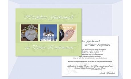 Individuelle Glückwunschkarte zur Kommunion / Konfirmation