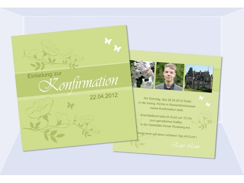Einladung Kommunion Konfirmation Einladungskarten Grun