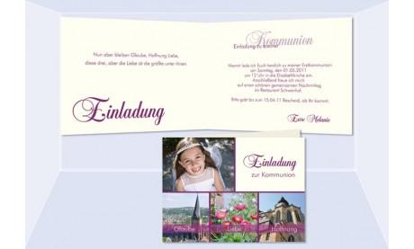 Einladung Kommunion / Konfirmation, Klappkarte, 4-seitig A6