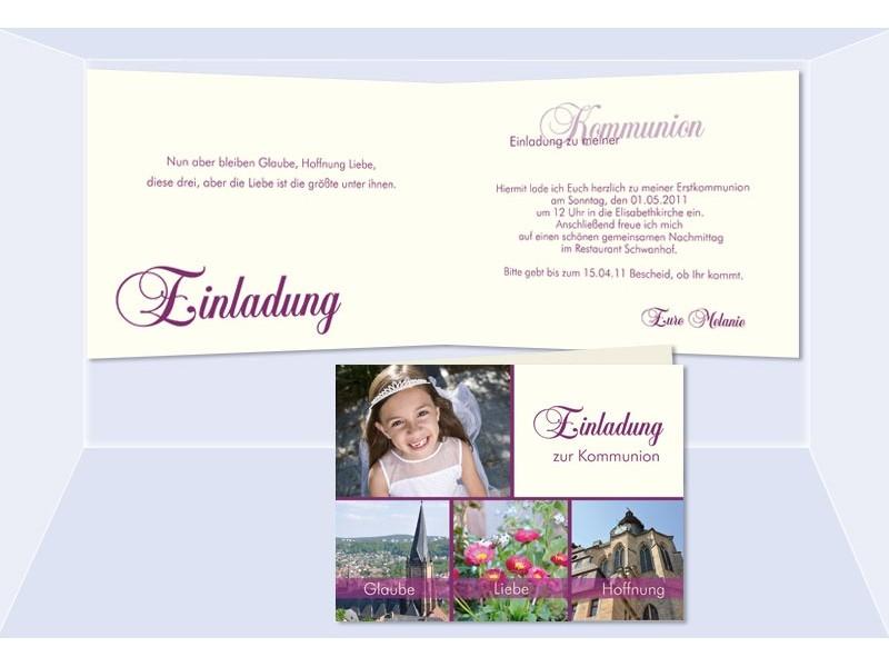 Einladung Kommunion / Konfirmation, Klappkarte, 4 Seitig A6