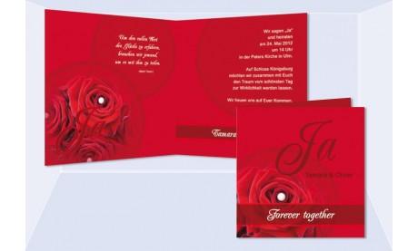 """Einladung Hochzeit """"Rose"""", Klappkarte Quadrat, rot"""