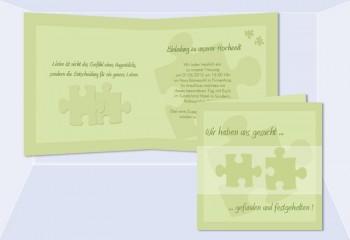 """Einladung Hochzeit """"Puzzle"""", Klappkarte Quadrat, grün"""