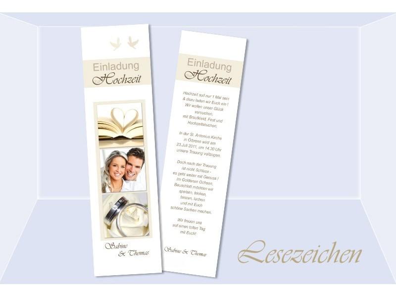Lesezeichen Einladung Hochzeit, 5x20 Cm, Creme