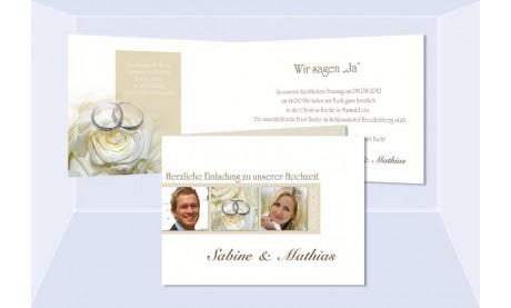 """Einladungskarte Hochzeit """"Zeichen"""", Klappkarte A6, creme weiß"""