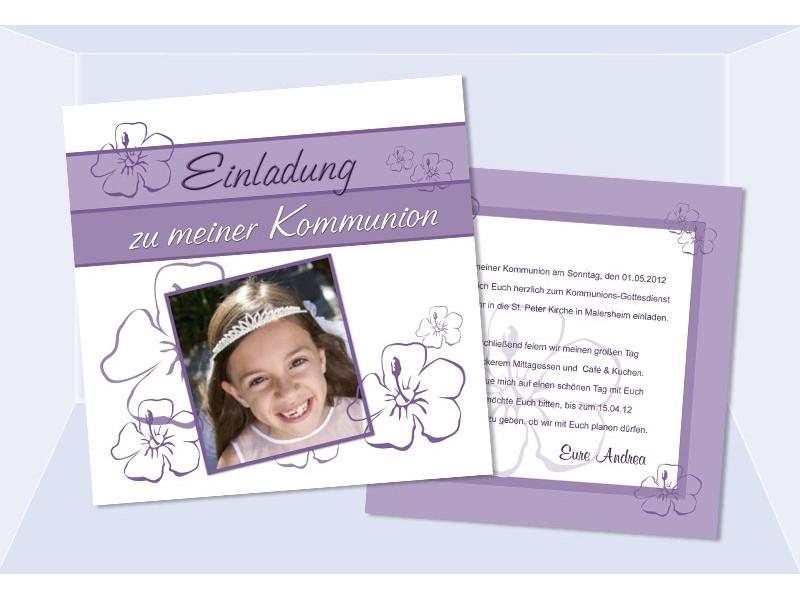 einladung kommunion / konfirmation, einladungskarten, lila