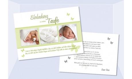 """Einladung Taufe """"Schmetterling"""", Taufeinladung, 10x15 cm"""