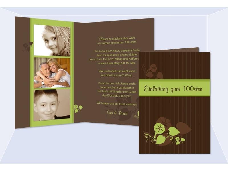 einladung 30. geburtstag, klappkarte 10x15 cm, braun grün, Einladungen